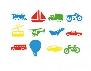 Σετ από 12 Σφραγίδες «Μεταφορικά Μέσα»