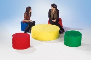 Κάθισμα - τραπεζάκι στρογγυλό κίτρινο μεσαίο μέγεθος